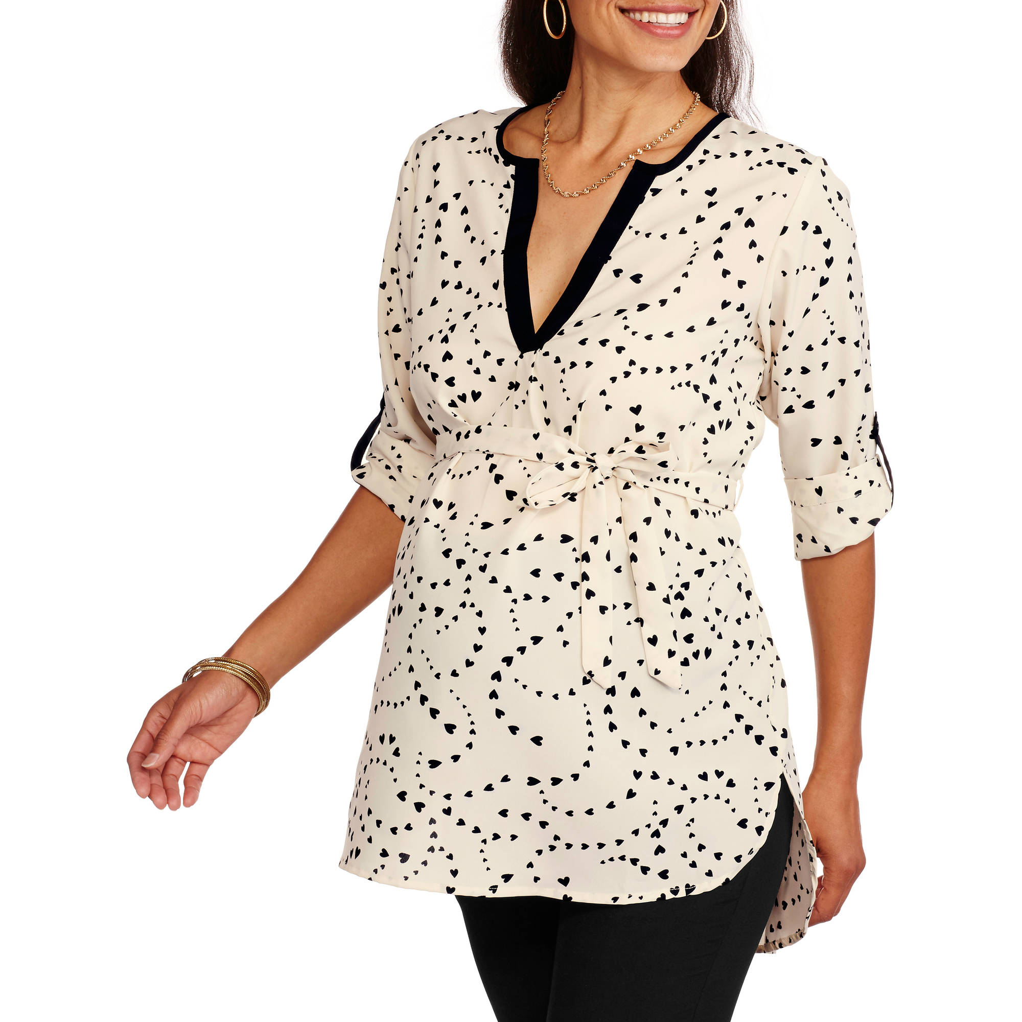 Oh! Mamma Maternity Heart Print Shirt with Contrast Trim and Tie Belt