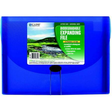 - C-Line Polypropylene Biodegradable Expanding File, Letter Size, 7 Pockets, Blue