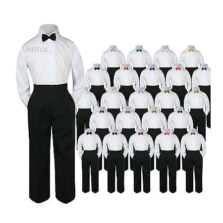 23 Color 3pc Set Bow Tie Boy Baby Toddler Kid Formal Suit Shirt Black Pants (Red Velour Outfit)