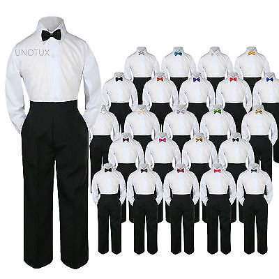 23 Color 3pc Set Bow Tie Boy Baby Toddler Kid Formal Suit Shirt Black Pants S-7