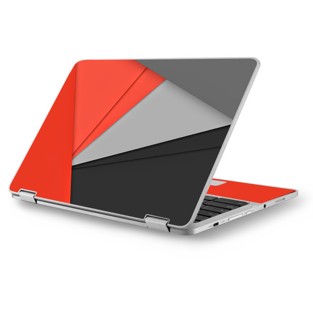 "Skins Decals for Asus Chromebook 12.5"" Flip C302CA Laptop Vinyl Wrap / Orange and Grey"