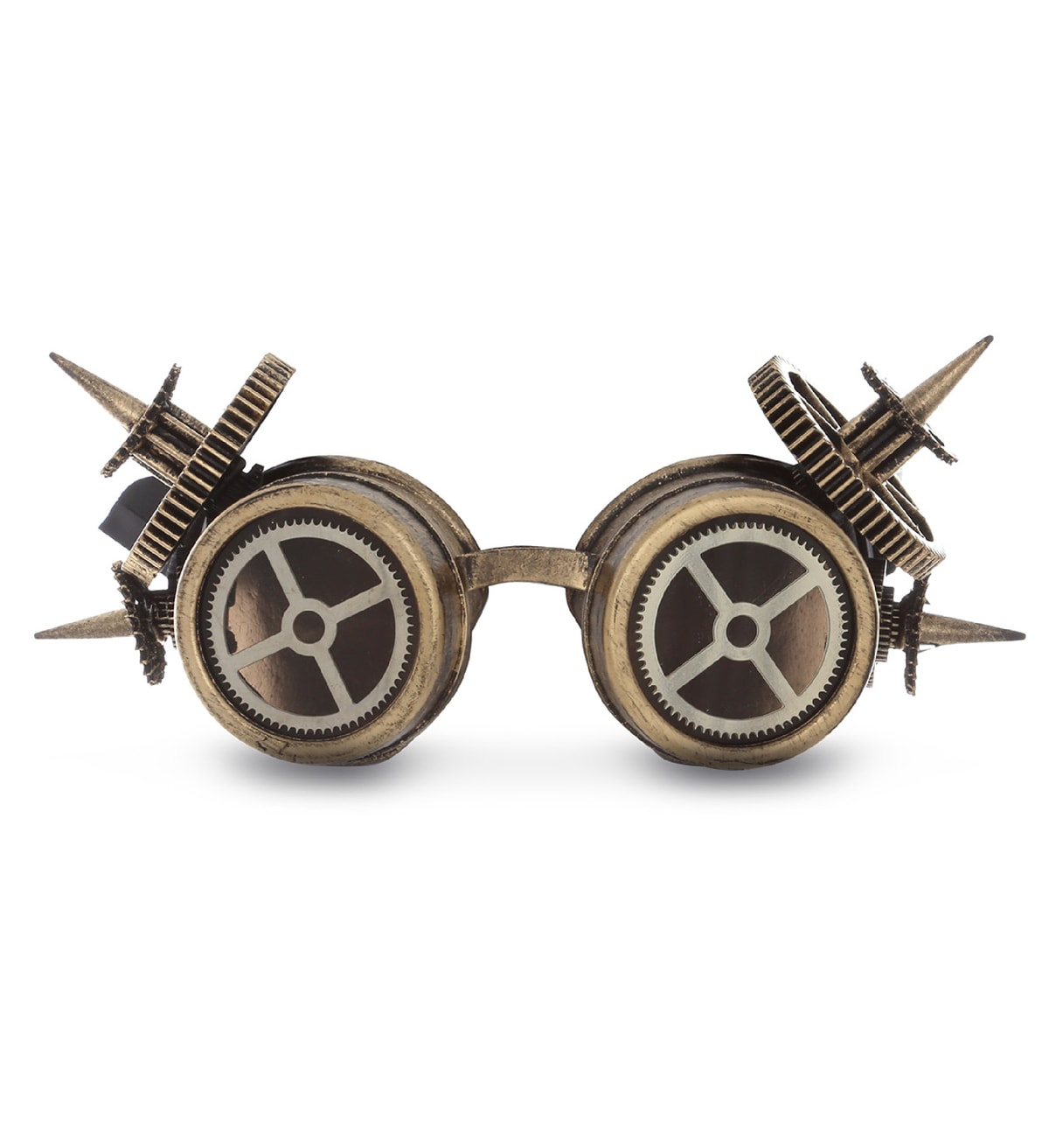 Bronze Spike Steam Punk Rocker Biker Vintage Aviator Goggles Costume Accessory