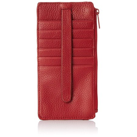 Buxton Mountaineer Credit Card Billfold - Buxton Womens Leather 3 in 1 Thin Credit Card Case Wallet/Change Purse/Id Holder (Red-RFID Protected)
