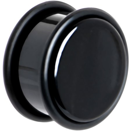 Black Acrylic Plug - Body Candy Black Acrylic Straight Plug (1 Piece) 3/4