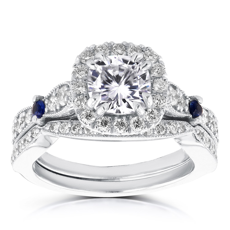 Diamond and Sapphire Bridal Set 1 3 4 Carat (ctw) in 14k White Gold by Kobelli