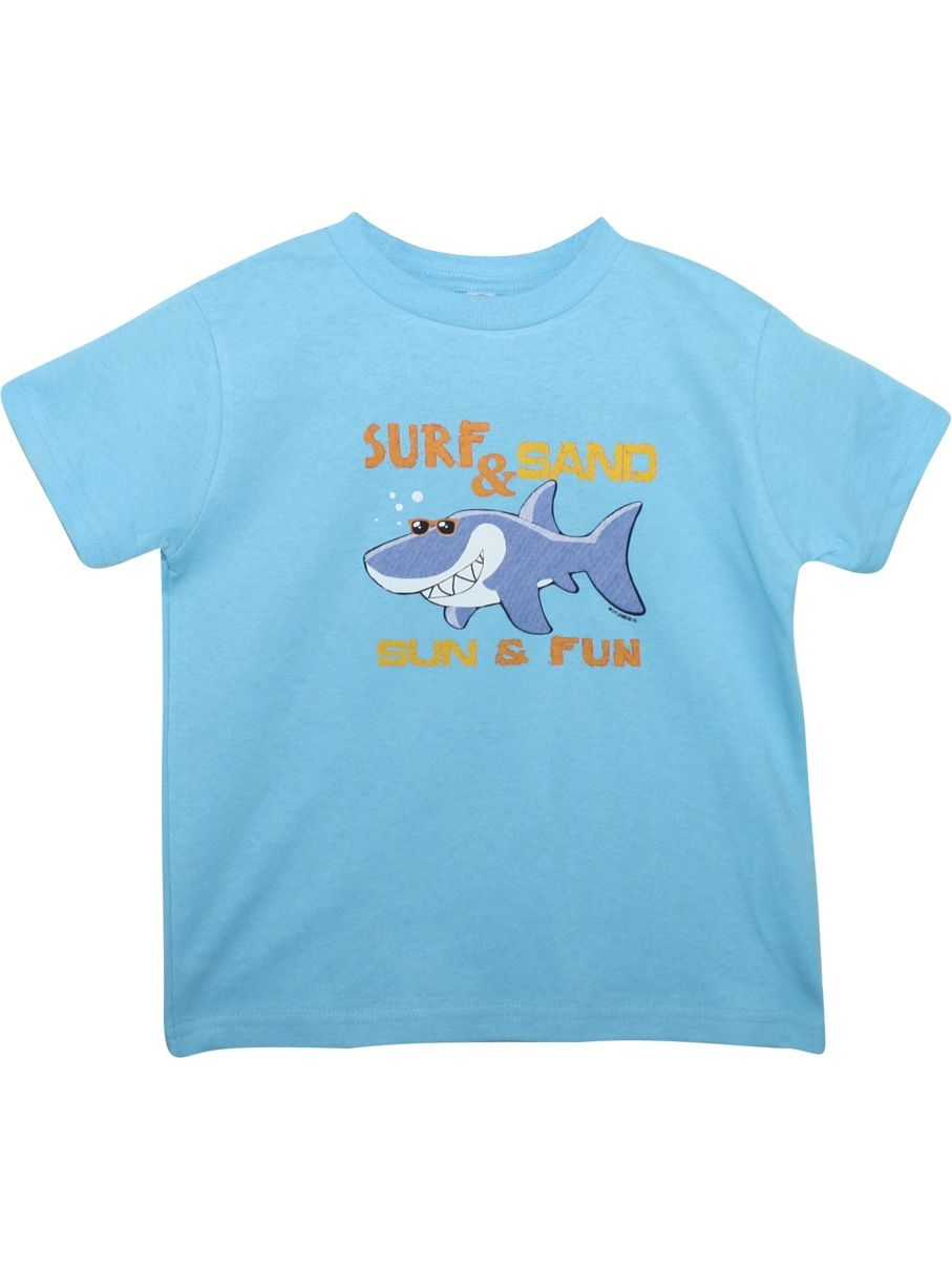"Unisex Blue ""Surf&Sand"" Shark Print Short Sleeve Cotton T-Shirt"
