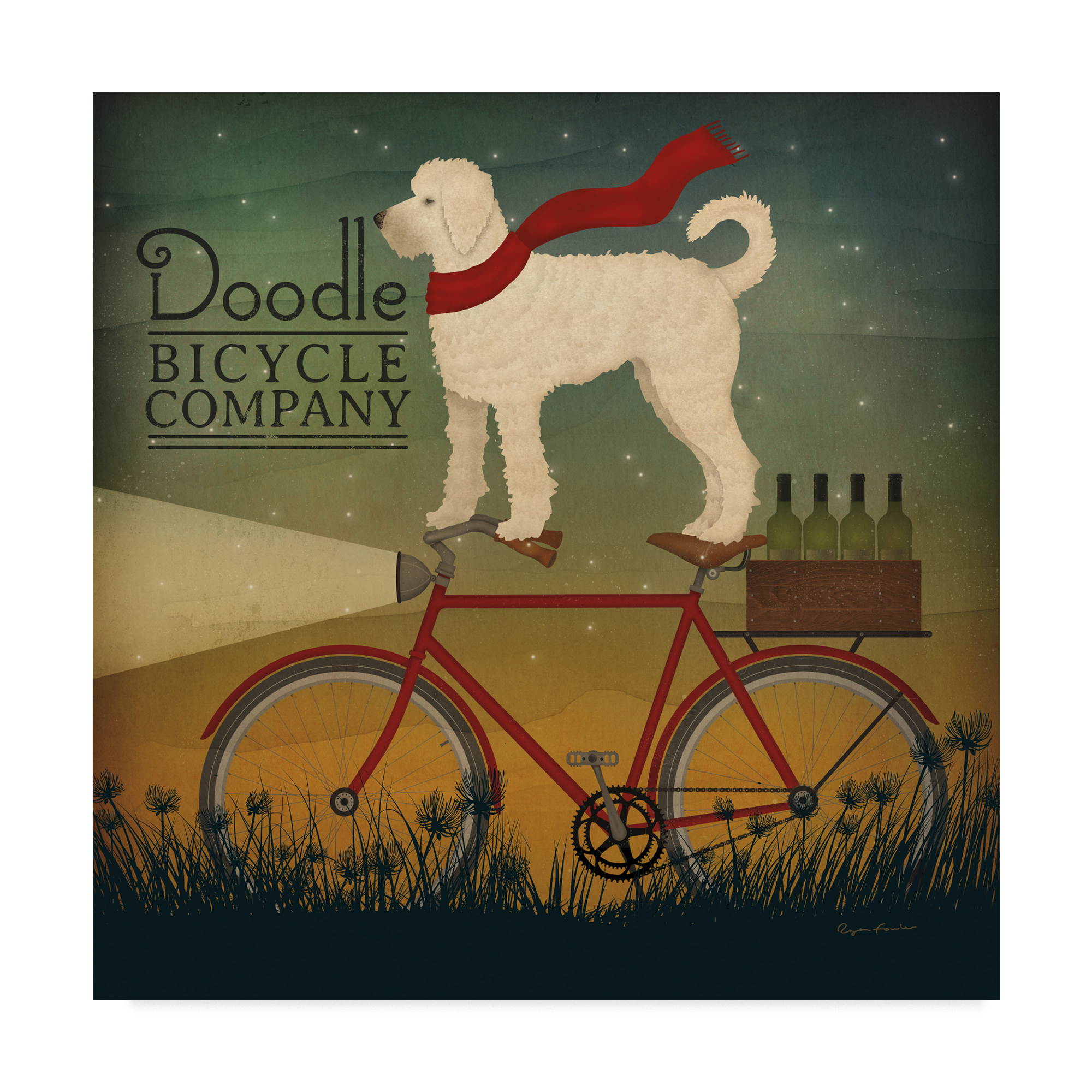 Trademark Fine Art 'White Doodle on Bicycle Summer' Canvas Art by Ryan Fowler