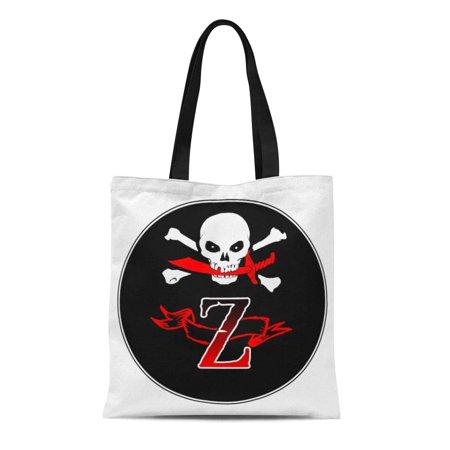 ASHLEIGH Canvas Tote Bag Initial Jolly Roger Z Monogram Gu Skull Pirate Buccaneer Reusable Handbag Shoulder Grocery Shopping Bags](Initial Tote Bags)