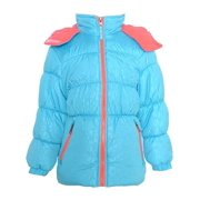 Little Girls Turquoise Coral Hooded Puffer Jacket 2T