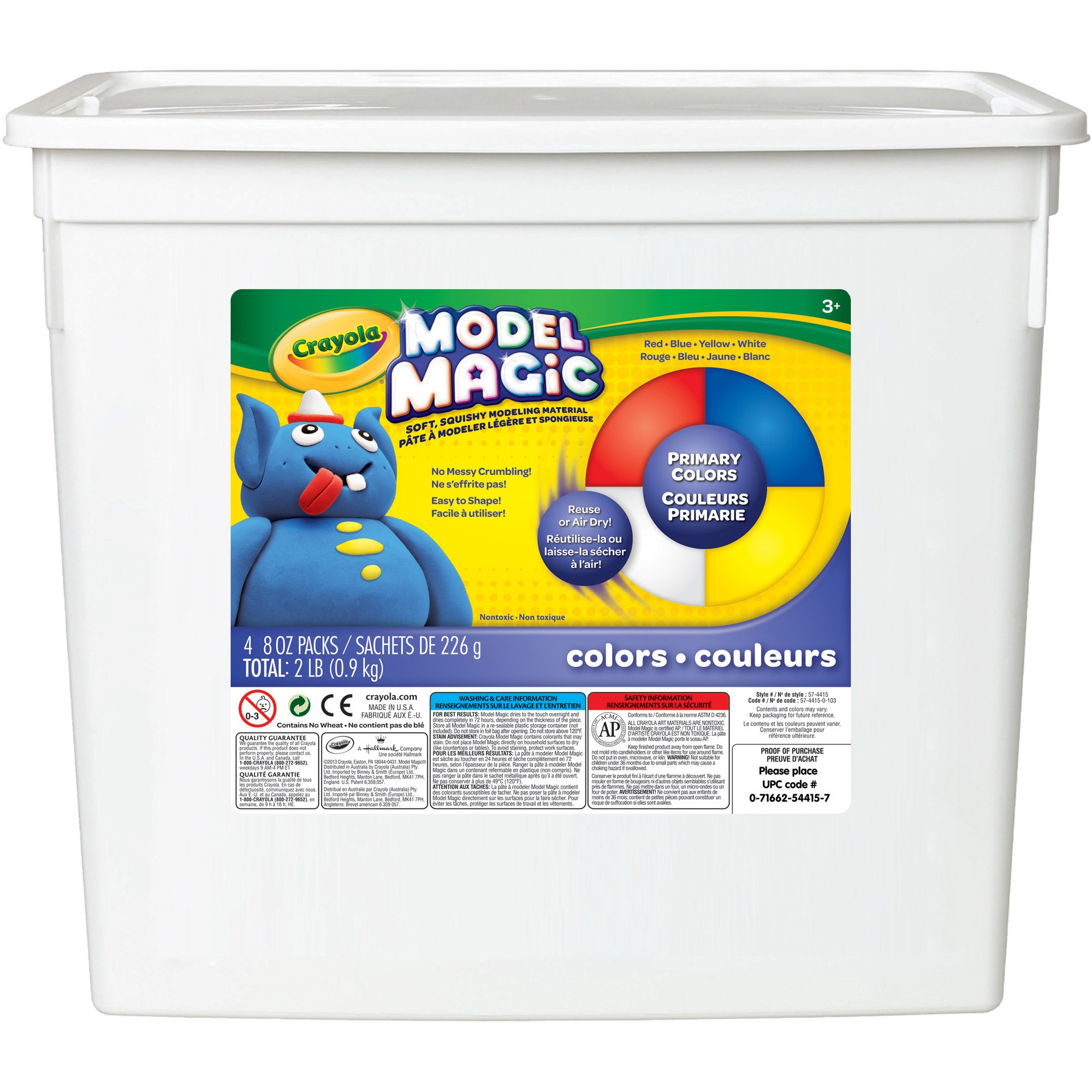 Crayola Model Magic Modeling Compound, 8 oz each Blue Red White Yellow, 2lbs. by Crayola, LLC