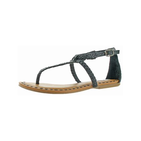 Not Rated Womens Zolin Woven Embossed T-Strap Sandals