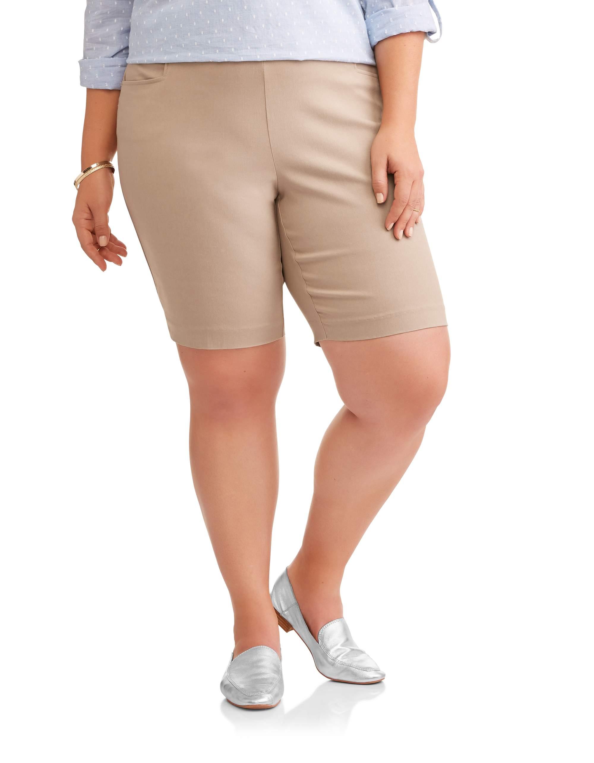 Terra & Sky Women's Plus Stretch Woven Bermuda Short