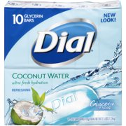 Dial Glycerin Bar Soap, Coconut Water, 4 Ounce Bars, 10 Count
