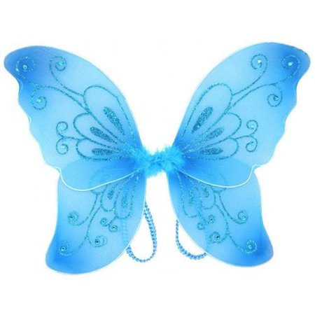 Sparkling Blue Fantasy Butterfly Fairy Wings Tinkerbell Womens Costume Accessory Little Fairy Butterfly Wings