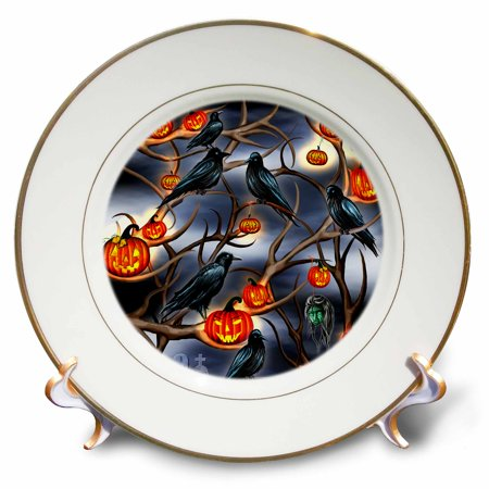 3dRose Mysterious Crows and Jack-o-Lanterns in tree branches on Halloween - Porcelain Plate, 8-inch