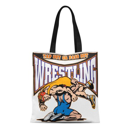 ASHLEIGH Canvas Tote Bag Sports Tap Out Wrestlers Wrestling Wrestle Grapple Tournament Champion Reusable Handbag Shoulder Grocery Shopping (Iron Chef America Tournament Of Champions 2013)