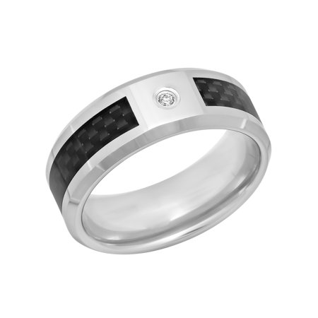 Men's Tungsten and Carbon Fiber 8MM Diamond Accent Wedding Band - Mens Ring