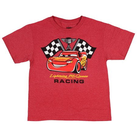 (Disney Tee Cars Piston Cup Racing Lightning McQueen Champion Cartoon Boy's Shirt)
