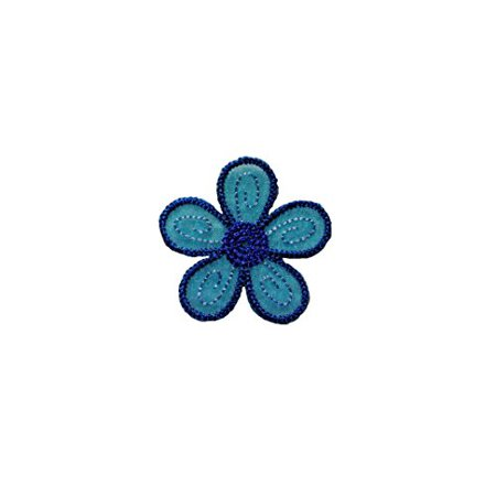 Altotux Blue Embroidered Organza Daisy Flower Sew on Floral Patch Applique Sewing Notions DIY Craft Supplies By Piece (1