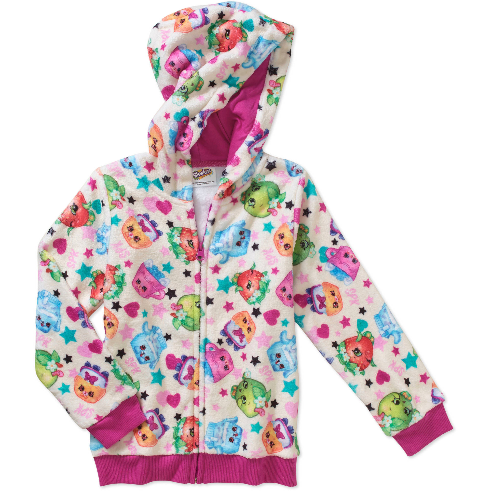 Shopkins Girls' Shopkins Petkins Hooded Sweater with Front Zipper