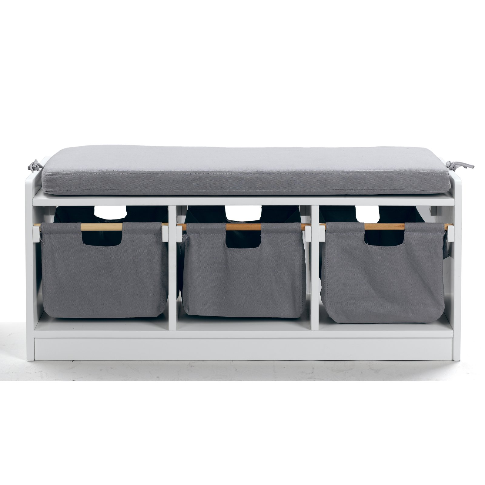 WonkaWoo Deluxe Childrens Storage Bench With Optional Cushion   White