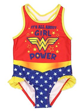 Warner Bros. Wonder Woman Girls Swimwear Swimsuit (3T, Red/Multi)
