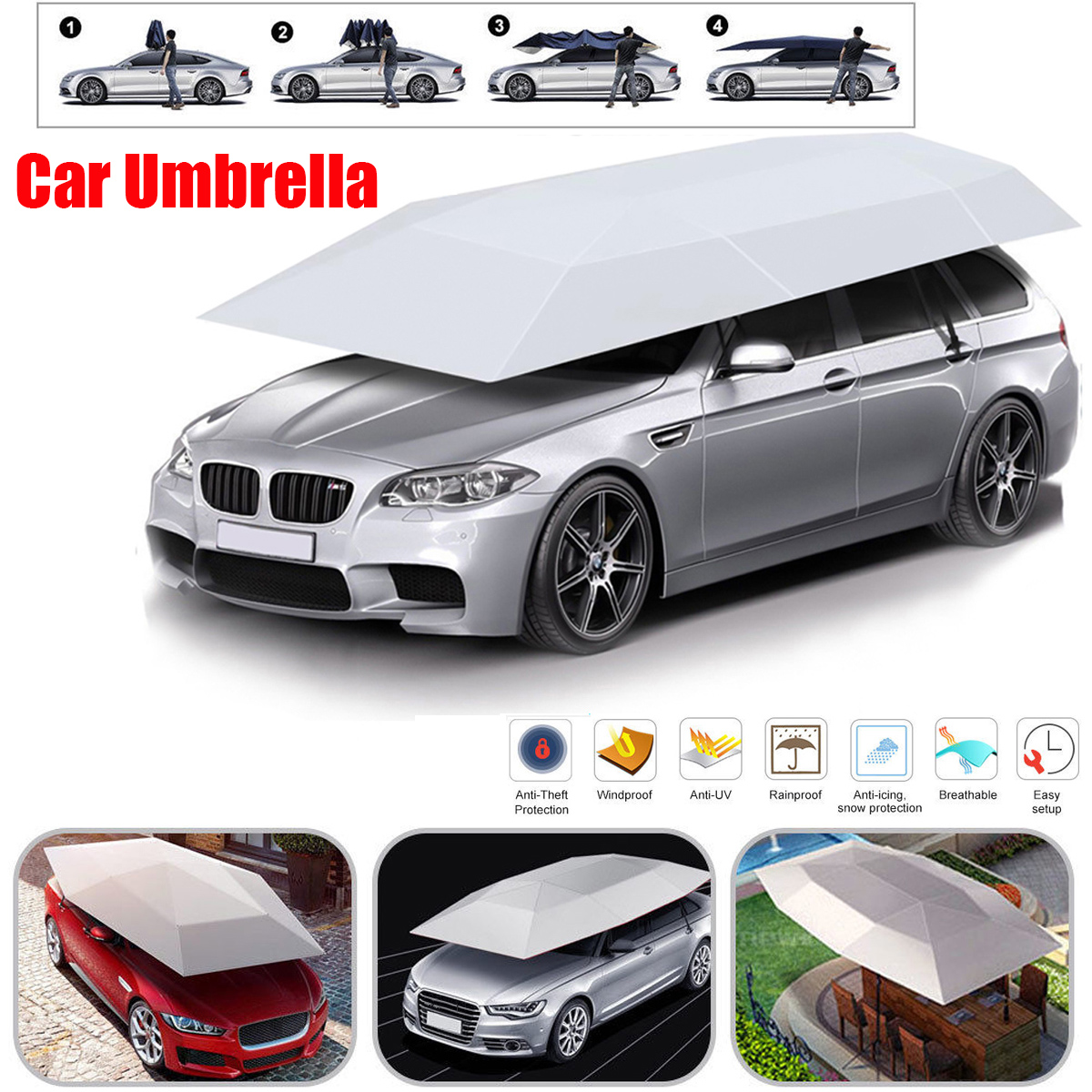 Folded Portable Semi-auto Car Car Protection Umbrella Carport Tent Movable Canopy Cover Foldable with Anti-UV,Water-Proof, Rain Wind,Snow,Storm,Hail Proof 158*83inch