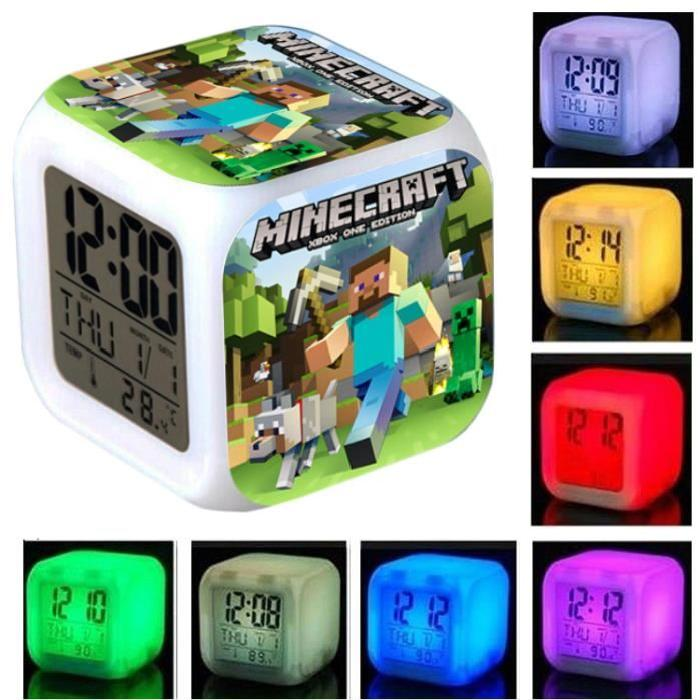 Minecraft Digital Alarm Thermometer Night Glowing Cube 7 Colors Clock LED Change LCD for... by