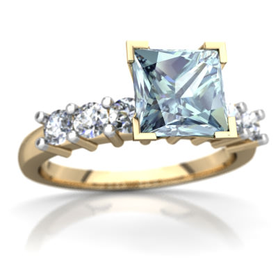 Aquamarine Engagement Ring in 14K Yellow Gold by