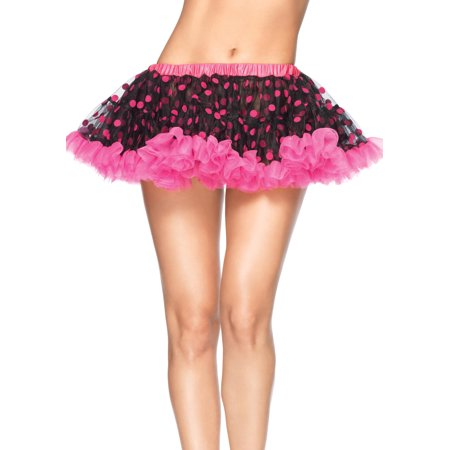 Leg Avenue Chiffon Mini Petticoat with Flocked Polka Dots, Black/Neon Pink, One Size