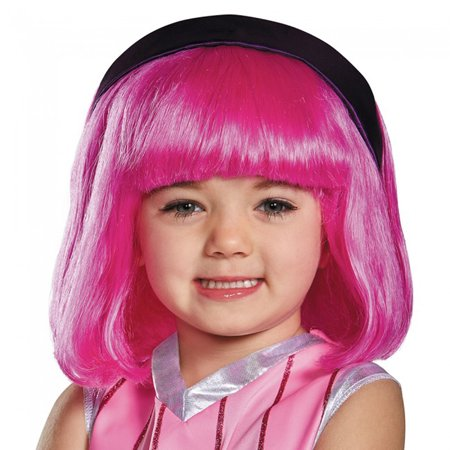 Child's Girls Nickelodeon Lazy Town Pink Stephanie Wig Costume Accessory - Short Pink Wigs