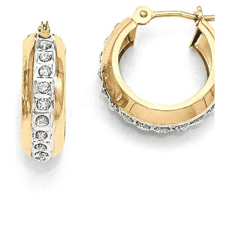 14kt Yellow Gold Diamond Fascination Round Huggy Hinged Hoop Earrings Ear Hoops Set Fine Jewelry Ideal Gifts For Women Gift Set From Heart ()