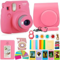 FujiFilm Instax Mini 9 Camera and Accessories Bundle - Instant Camera, Carrying Case, Color Filters, Photo Album, Stickers, Selfie Lens + MORE (Flamingo Pink)
