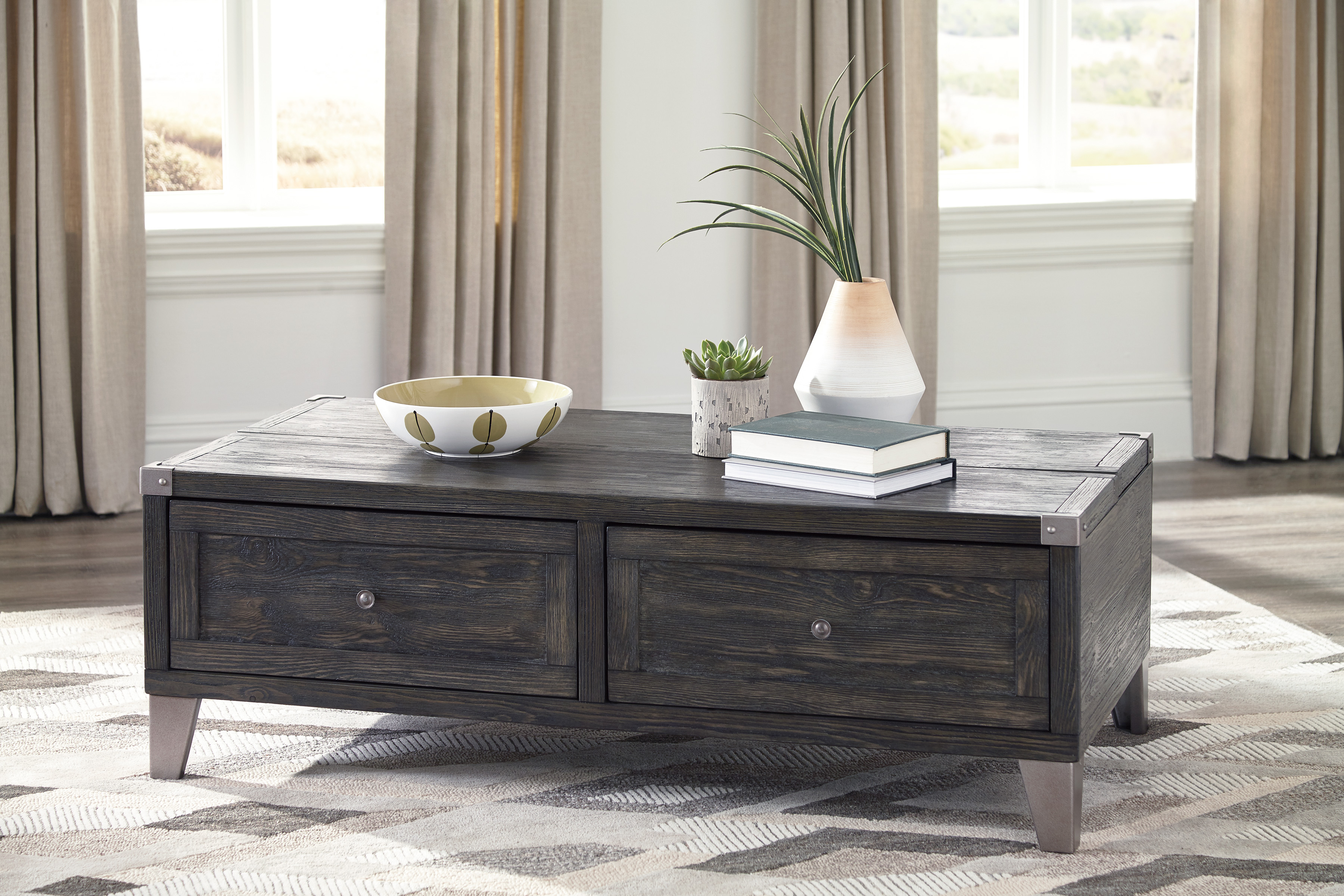 Ashley Furniture Todoe Dark Gray Finish Lift Top Coffee Table With