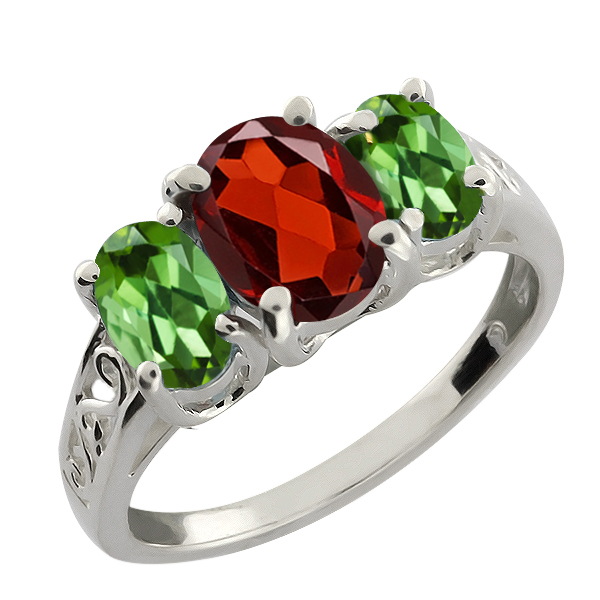 2.20 Ct Oval Red Garnet and Green Tourmaline 14k White Gold Ring by