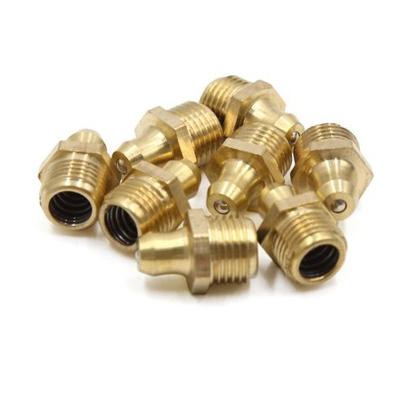 8pcs M10 x 1 Thread Brass Straight Grease Nipple Fitting for Motorcycle