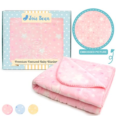 JOIE BEAN Fleece Baby Blanket for Infant & Newborn | Super Soft Plush Infant Blankie for Crib | Warm, Reversible Elephant Baby Blanket with Textured Bear Pattern ()