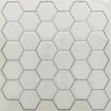 RoomMates StickTILES Pearl Hexagon Peel and Stick Backsplash – 4 Per Pack