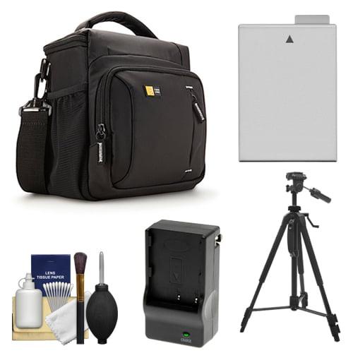 Case Logic TBC-409 Digital SLR Camera Shoulder Case (Black) with LP-E8 Battery & Charger + Tripod + Kit for Canon Rebel T3i, T4i, T5i