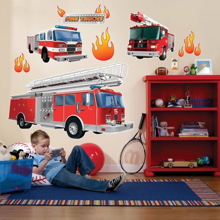 Fire Trucks Giant Wall Decals (Working Fire Decal)