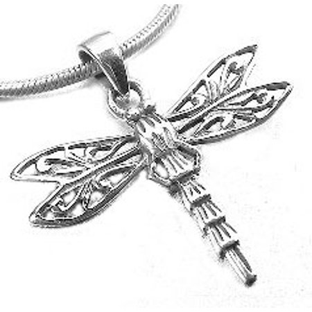 Pretty Sterling Silver Filigree Dragonfly Charm Pendant