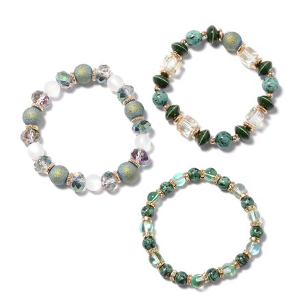 Shop LC Delivering Joy Goldstone Mystic Unakite Set of 3 Stretchable Beaded Bead Charms Bracelet for Women Jewelry Gift