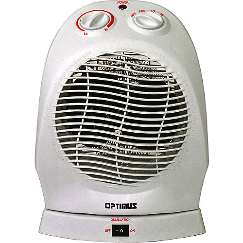 optimus electric portable 2speed oscillating fan heater with thermostat heop1382