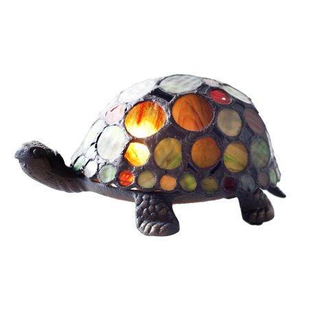 River of Goods GiGi The Spotted Turtle Stained Glass Accent Lamp ()