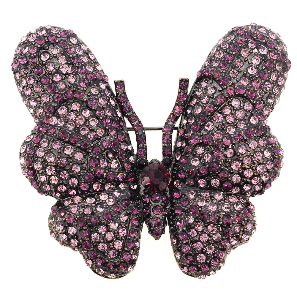 Vintage Style Amethyst Purple Butterfly Crystal Pin Brooch by