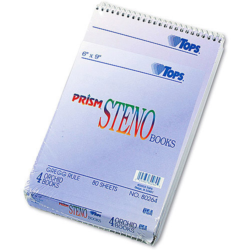 """TOPS Spiral Steno Notebook, Gregg Rule, 6"""" x 9"""", 80 Sheets, 4 Pads per Pack"""