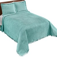 Collections Etc Classique Chenille Bedspread TURQUOISE KING
