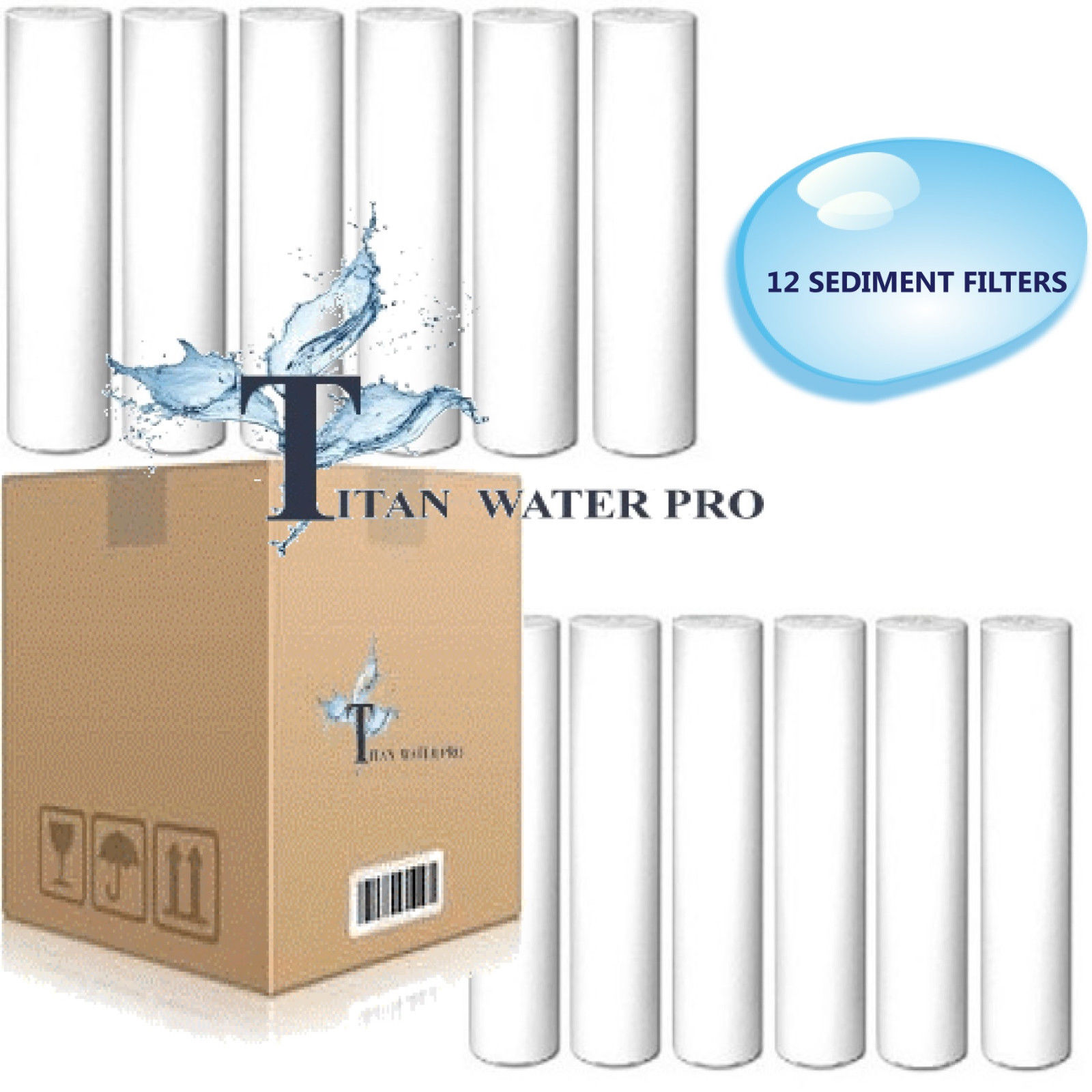 """12 PCS REVERSE OSMOSIS WATER SEDIMENT Filters 1 MICRON - fits standard 10"""" hsng"""