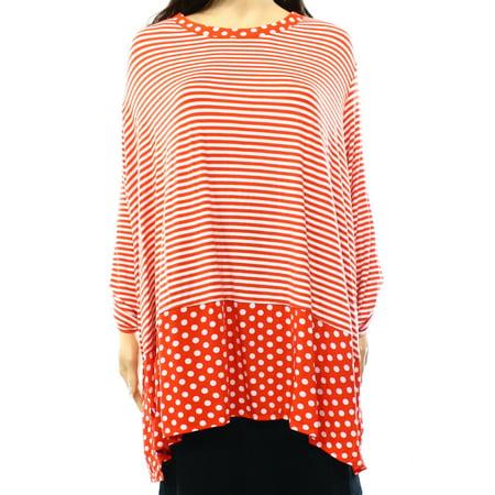 eaeed24317763 Ali Miles - Ali Miles NEW Red Women s Size 3X Plus Striped Polka-Dot Trim  Knit Top - Walmart.com