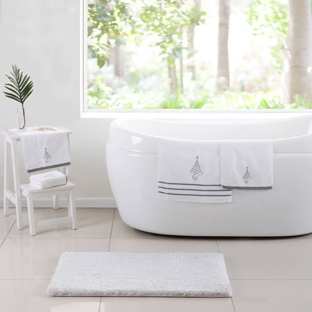 VCNY Home Silver Holiday Tree 5-Piece Bath Set, Bath Rug and Towels